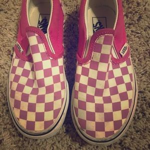 Vans pink checkered slip on shoes size 13
